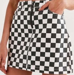 BDG / 100% Cotton Checkered Denim Mini Skirt